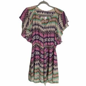 Parker Flora Silk Chevron Ruffle Wrap Dress
